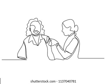 continuous line drawing of care for the elderly, vector illustration.