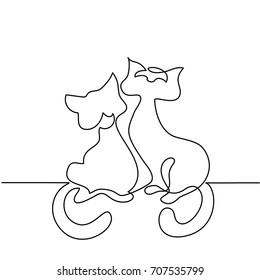 Continuous line drawing. Cat silhouette logo. Vector illustration on white background