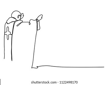 continuous line drawing of Catholic priest vector illustration.