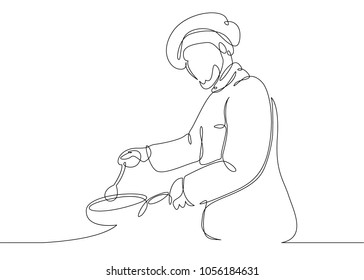 Continuous line drawing of chef cooking gourmet meal,chef preparing food.The cook prepares food in the kitchen