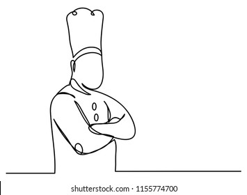 continuous line drawing of chef cooking cook a gourmet concept vector illustration.