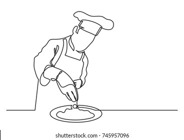 continuous line drawing of chef finishing meal preparation