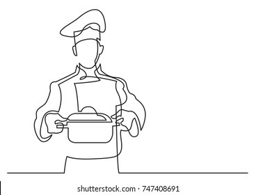 continuous line drawing of chef holding pot of meal
