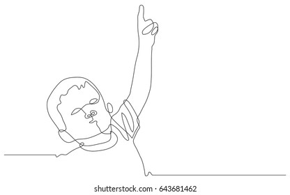 continuous line drawing of child pointing up with the finger on a white background