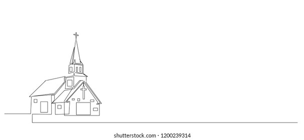 Continuous line drawing of Christian churches building concept, symbol, construction, vector illustration simple.