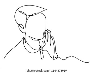 Continuous line drawing of Christian prayer, vector illustration.