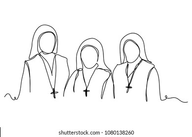 Continuous line drawing of Christianity   Mother of God (Catholic) Vector Illustration