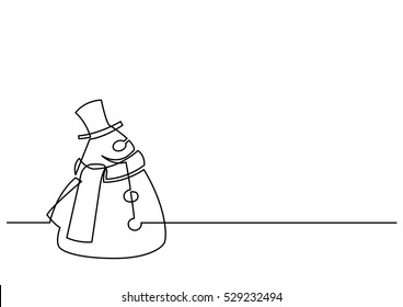 continuous line drawing of Christmas Frosty Snowman
