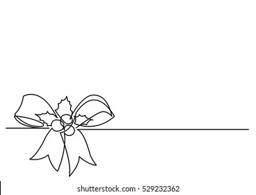 continuous line drawing of Christmas Holly Decoration