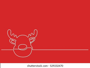 continuous line drawing of Christmas Rudolph Reindeer