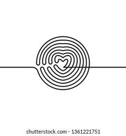 Continuous line drawing of circle transformed in heart, Black and white vector minimalist illustration of love concept made of one line