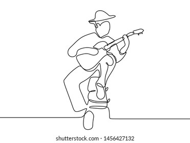 Imágenes, fotos de stock y vectores sobre Guitar Player Line Drawing