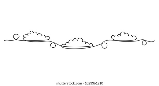 Continuous line drawing. Clouds. Black isolated on white background. Hand drawn vector illustration.