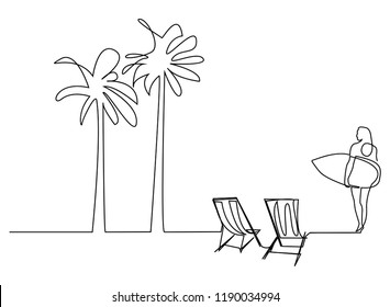 continuous line drawing of coconut tree and beach mattress Tourism beach sea  and holding a surfboard. vector illustration