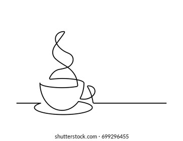 Continuous line drawing of coffee cup on white background. Vector illustration.