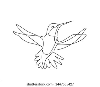 continuous line drawing of colibri birg flying