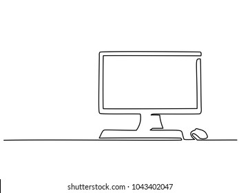 Continuous line drawing. Computer monitor with keyboard and mouse. Vector illustration
