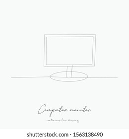 continuous line drawing. computer monitor. simple vector illustration. computer monitor concept hand drawing sketch line.