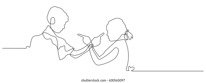 continuous line drawing of Conflict bad relationships concept. Two people couple pointing fingers at each other