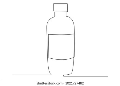 continuous line drawing of cosmetic product design bottle beauty vector illustration