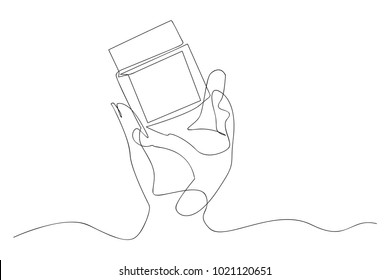 continuous line drawing of cosmetic products vector illustration of beauty
