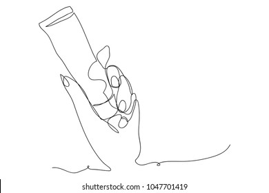 continuous line drawing of cosmetics on hand vector illustration.