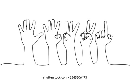 continuous line drawing. counting hands on the finger of one to five isolated on white background