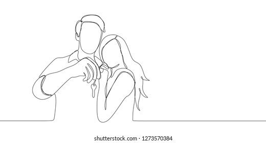 Continuous line drawing of couple being happy holding key after buying home or car. One line drawing vector illustration isolated on white background.