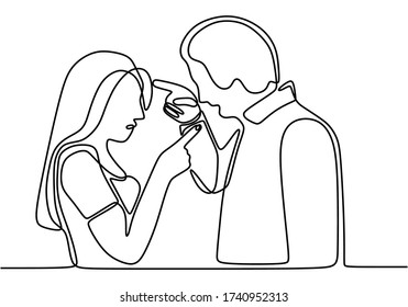 Continuous line drawing of couple in conflict. Couple fighting and pointing finger at each other. Man and women talking with angry gesture vector illustration isolated on white background.