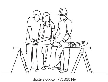 continuous line drawing of - couple discussing construction plan with developer