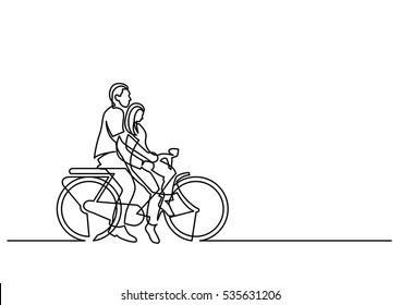 continuous line drawing of couple riding on bicycle