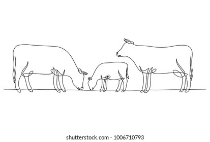 Continuous line drawing of cow and calf isolated on white for farms, groceries, packaging and branding