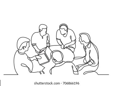 continuous line drawing of coworkers discussing