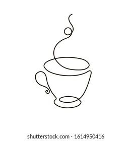 Kontinuierliche Zeichnung der Tasse Kaffee. Vektorillustration