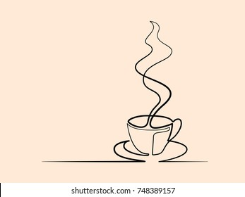 Continuous line drawing of cup of coffee. Vector illustration. Concept for logo, card, banner, poster, flyer