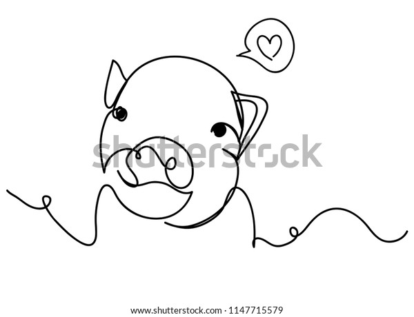 continuous line drawing of cute pig vector illustration simple concept zodiac pig.