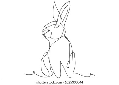 continuous line drawing of cute rabbit vector illustration