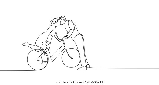 Continuous line drawing of cute romantic couple in love riding bicycle vector illustration.