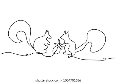 continuous line drawing of cute squirrel vector illustration