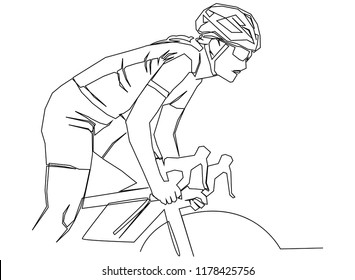 continuous line drawing of cycling, sports, health, fitness concept vector illustration simple.
