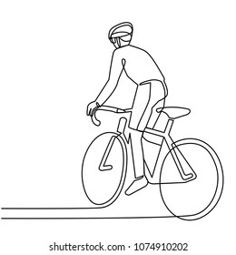 Continuous Line Drawing Cyclist on a Bicycle in Competitions, Minimalism Drawn by Hand on White Background. Vector Illustration.