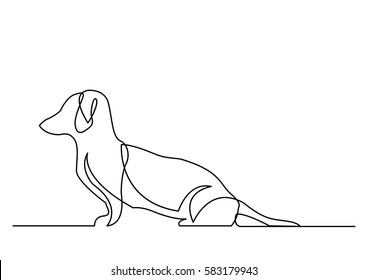 continuous line drawing of dachshund dog