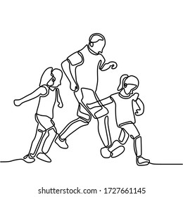Continuous line drawing of dad playing with his two children. Happy father running together with son and daughter. Happy family playing together concept. Modern continuous line draw design