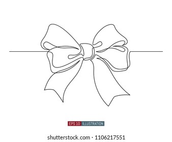 Continuous line drawing of decorative ribbon bow. Template for your design. Vector illustration.
