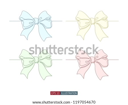 Continuous Line Drawing Of Decorative Ribbon Bow Template For Your Design Vector Illustration