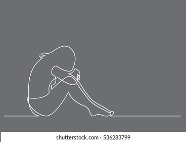 continuous line drawing of depressed woman sitting