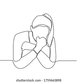 Continuous line drawing of depressed women from emotional shock, loss, grief, life problems and break up relationship. Female received bad news. The concept of failure and heartbreak
