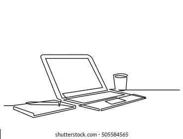 continuous line drawing of desk laptop computer pen