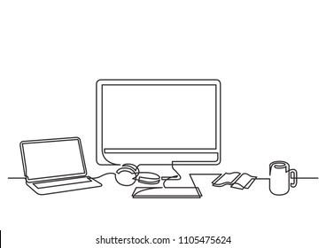 continuous line drawing of desktop computer laptop and mug