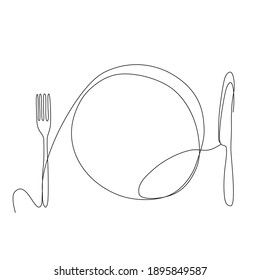 Continuous Line Drawing dish with spoon and knife, top view. Trendy one line draw design vector illustration,  food and cuisine theme